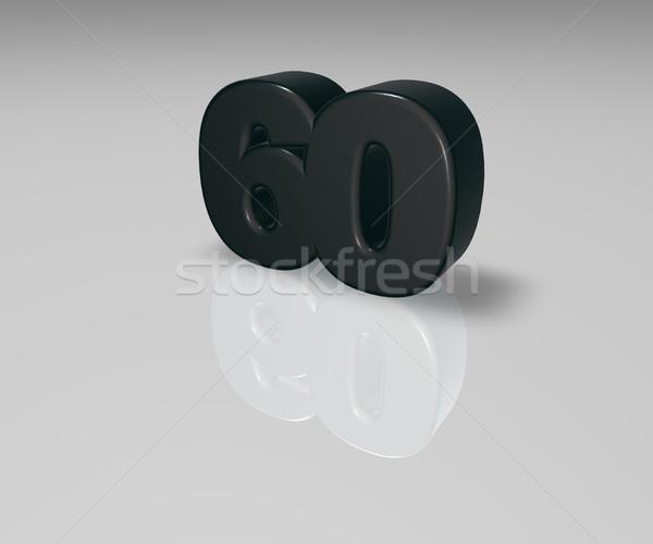 Aantal zestig witte 3d illustration verjaardag illustratie Stockfoto © drizzd