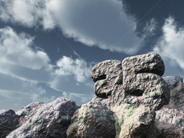 Stok fotoğraf: Numara · otuz · beş · kaya · bulutlu · mavi · gökyüzü