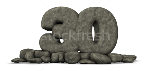 stone number thirty on white background - 3d rendering Stock photo © drizzd