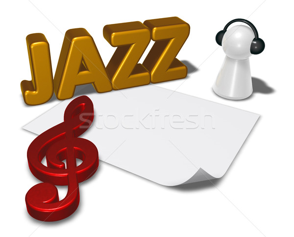 Jazz tag pion hoofdtelefoon 3d illustration papier Stockfoto © drizzd