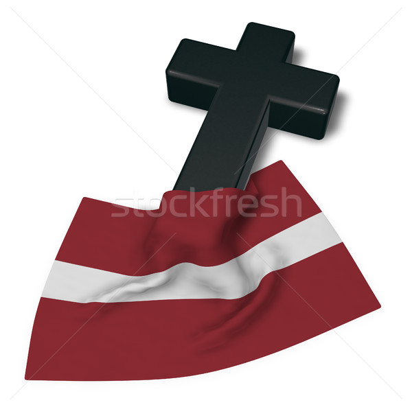 christian cross and flag of latvia - 3d rendering Stock photo © drizzd