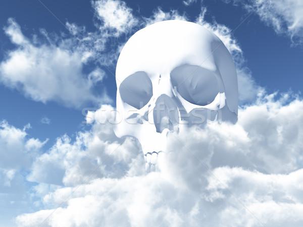 Koponya fehér felhők 3d illusztráció fej Stock fotó © drizzd