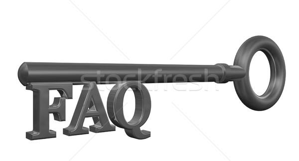 Preguntas frecuentes clave etiqueta 3d metal servicio Foto stock © drizzd
