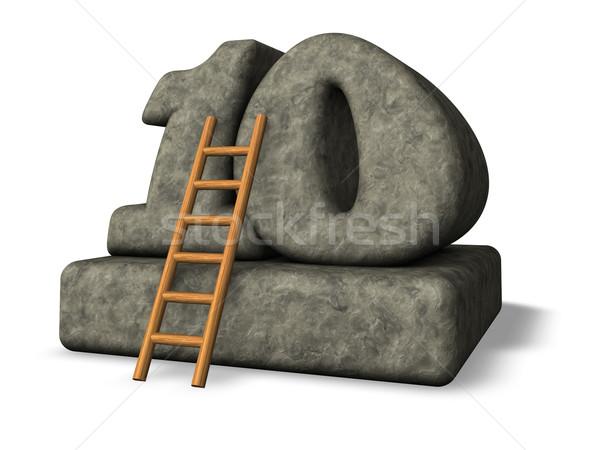 Numara on merdiven taş 3d illustration tırmanmak Stok fotoğraf © drizzd