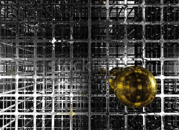 Altın küre soyut fütüristik 3d illustration dizayn Stok fotoğraf © drizzd