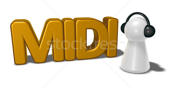midi tag and pawn with headphones - 3d rendering Stock photo © drizzd