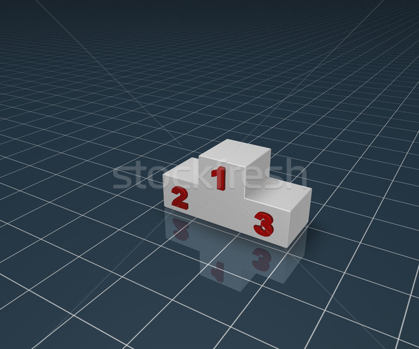 winner podium on blue squared surface - 3d illustration Stock photo © drizzd