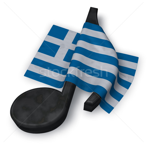 Stock photo: music note and flag of greece - 3d rendering