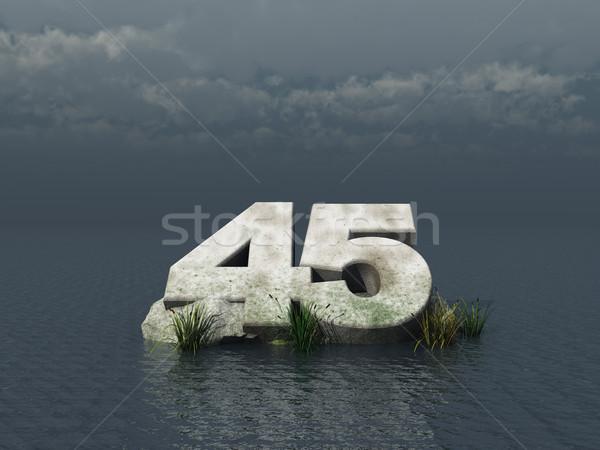 Czterdzieści pięć numer ocean 3d ilustracji charakter Zdjęcia stock © drizzd