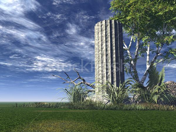 Harabe tapınak antika sütun ağaç 3d illustration Stok fotoğraf © drizzd