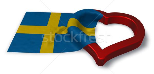 Bandeira Suécia coração símbolo 3D Foto stock © drizzd