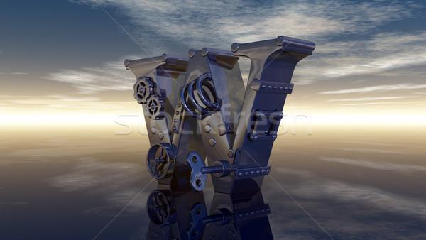 List w maszyny mętny niebo 3d ilustracji chmury Zdjęcia stock © drizzd
