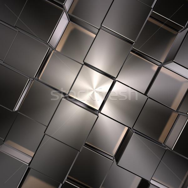 Foto d'archivio: Metal · illustrazione · 3d · costruzione · muro · sfondo