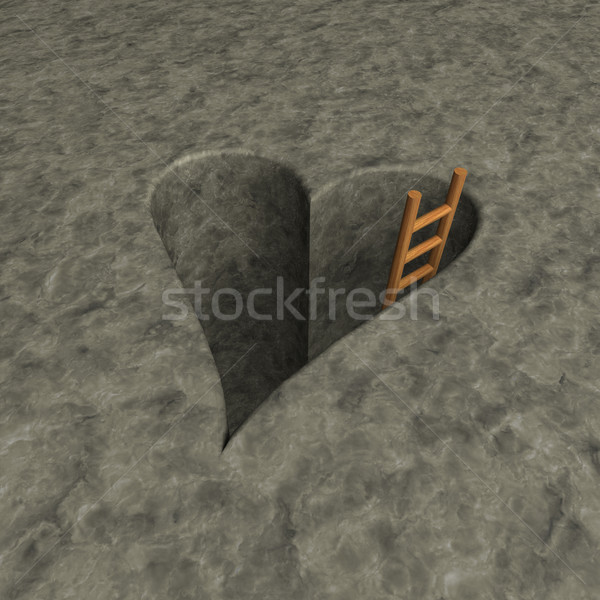 heart-shaped hole and ladder Stock photo © drizzd