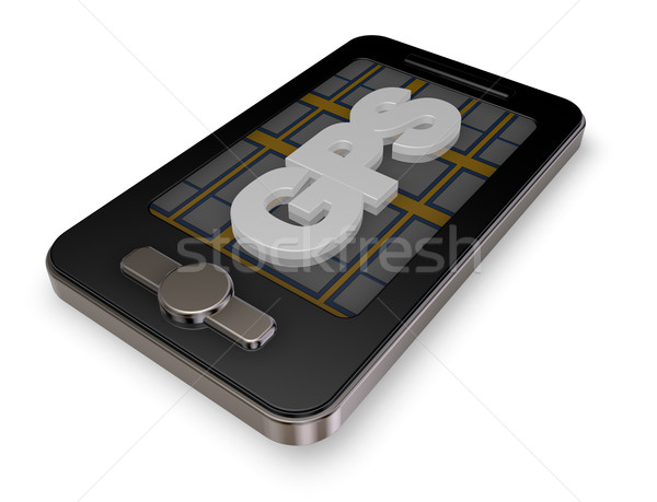 Smartphone gps display 3d illustration weg kaart Stockfoto © drizzd