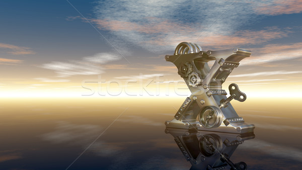 machine letter x under cloudy sky - 3d illustration Stock photo © drizzd