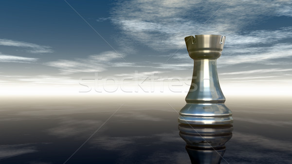 metal chess rook under cloudy sky - 3d rendering Stock photo © drizzd