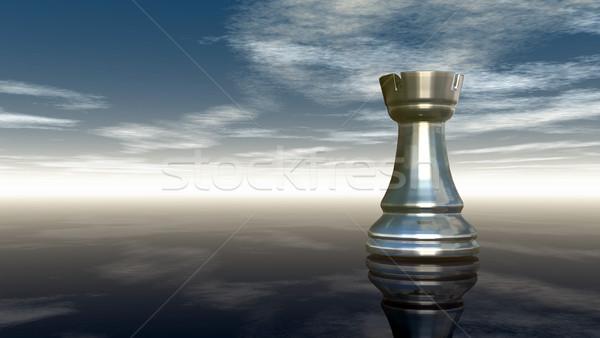металл шахматам облачный небе 3D Сток-фото © drizzd