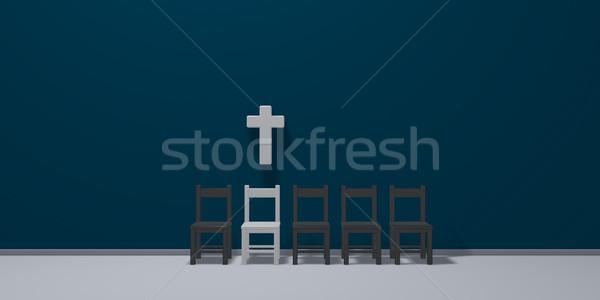 Csetepaté székek keresztény kereszt 3D renderelt kép Stock fotó © drizzd