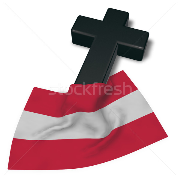 christian cross and flag of austria - 3d rendering Stock photo © drizzd