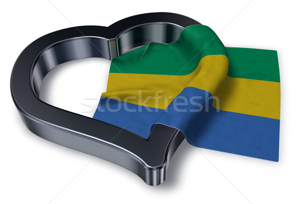 flag of gabon and heart symbol - 3d rendering Stock photo © drizzd