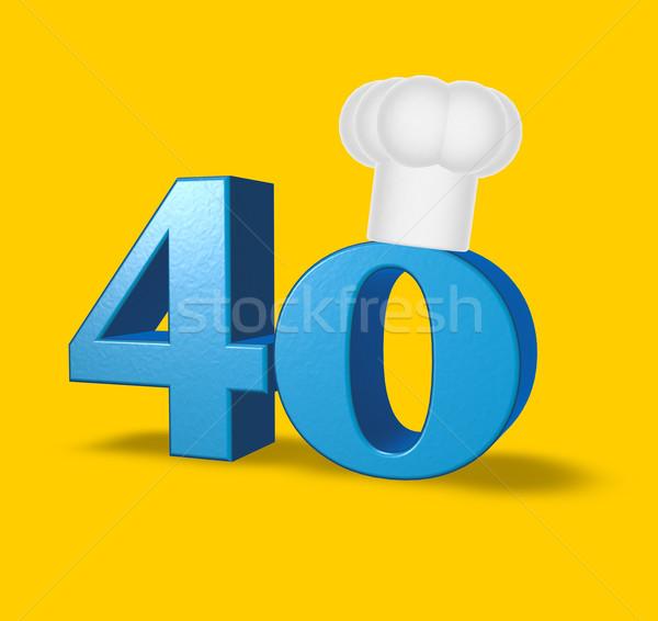 Numero quaranta cuoco Hat bianco illustrazione 3d Foto d'archivio © drizzd