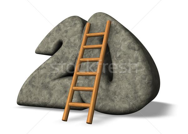 числа двадцать лестнице каменные 3d иллюстрации Math Сток-фото © drizzd