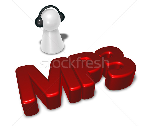 Mp3 tag pion casque 3D Photo stock © drizzd