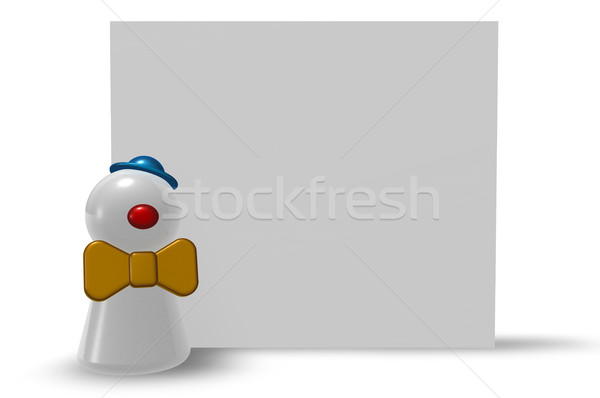 pawn clown and blank board on white background - 3d illustration Stock photo © drizzd