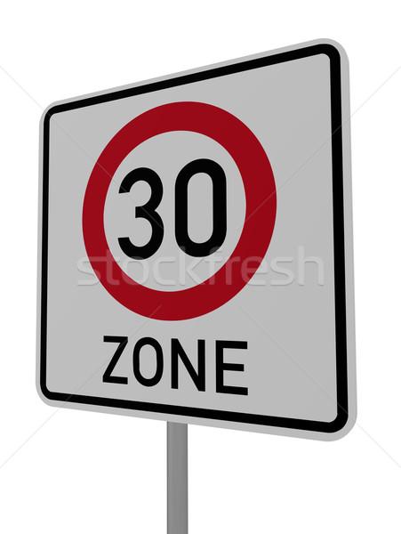 Dertig witte 3d illustration teken snelweg Stockfoto © drizzd