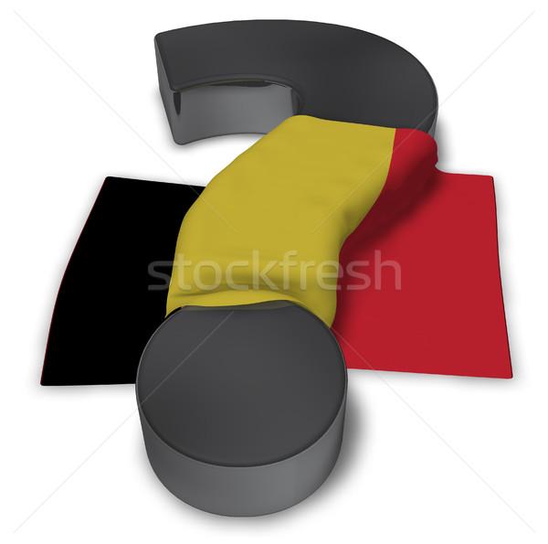 Kérdőjel zászló Belgium 3d illusztráció felirat segítség Stock fotó © drizzd