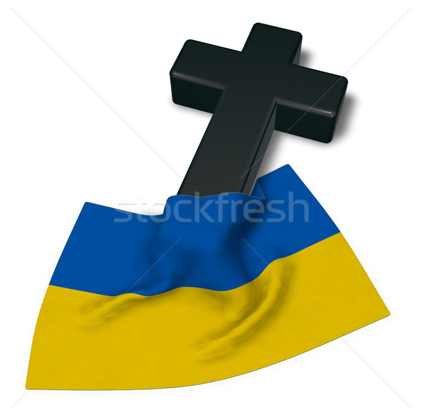 christian cross and flag of the ukraine - 3d rendering Stock photo © drizzd