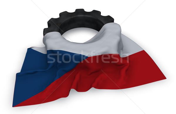 Engrenagem roda bandeira tcheco república 3D Foto stock © drizzd