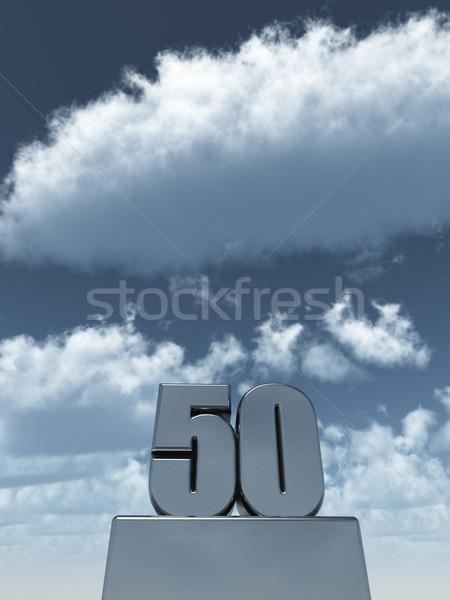 пятьдесят металл 50 облачный Blue Sky 3d иллюстрации Сток-фото © drizzd