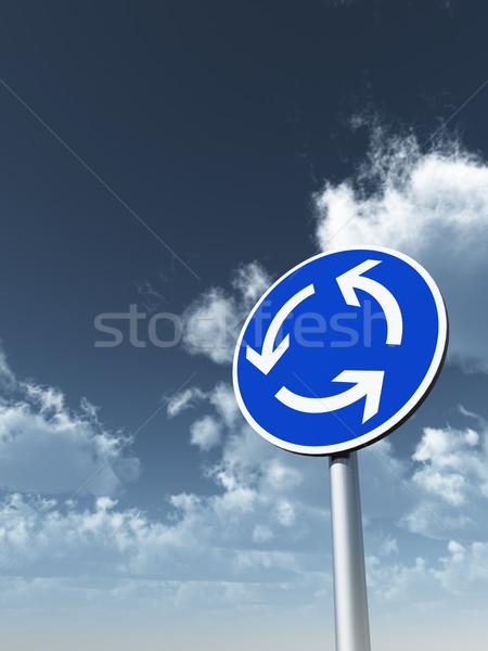 Daire trafik dolambaçlı bulutlu mavi gökyüzü Stok fotoğraf © drizzd