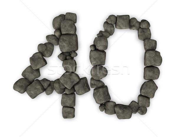Nombre quarante cailloux 3d illustration pierre anniversaire Photo stock © drizzd