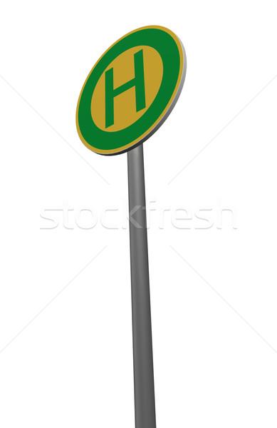 Przystanek autobusowy biały 3d ilustracji drogowego podróży Zdjęcia stock © drizzd