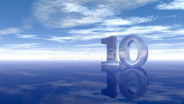 Szám tíz felhős égbolt 3D renderelt kép Stock fotó © drizzd