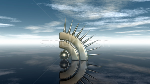 rss symbol with prickles under cloudy blue sky - 3d illustration Stock photo © drizzd