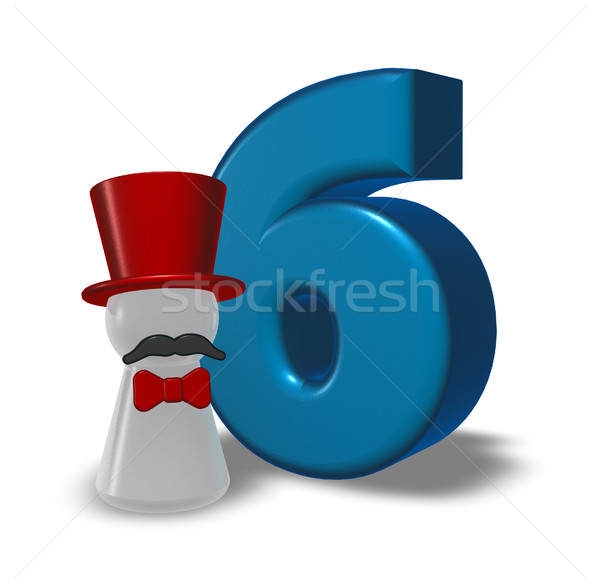 number six and pawn with hat and beard - 3d rendering Stock photo © drizzd