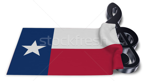 clef symbol and flag of texas - 3d rendering Stock photo © drizzd