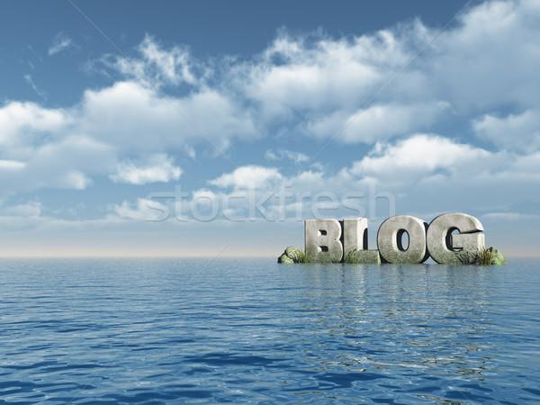 Blog szó kő óceán 3d illusztráció víz Stock fotó © drizzd