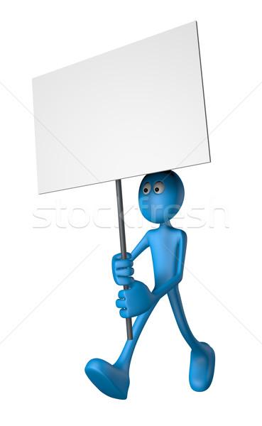 протест синий парень баннер 3d иллюстрации Cartoon Сток-фото © drizzd