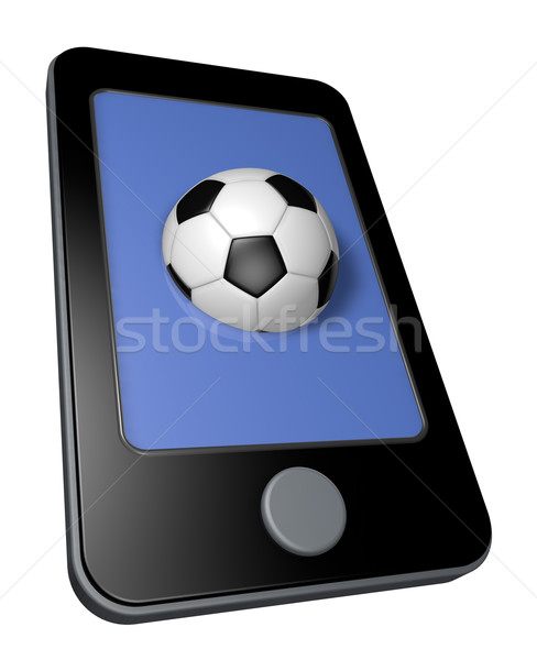 Online calcio smartphone soccer ball display illustrazione 3d Foto d'archivio © drizzd