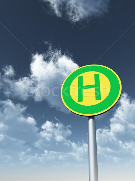 Przystanek autobusowy mętny niebo 3d ilustracji chmury Zdjęcia stock © drizzd