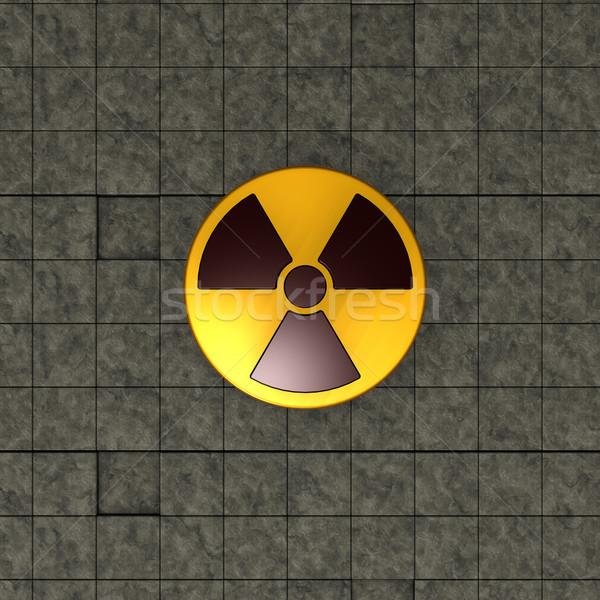 Nuclear símbolo piedra cuadros 3d tecnología Foto stock © drizzd