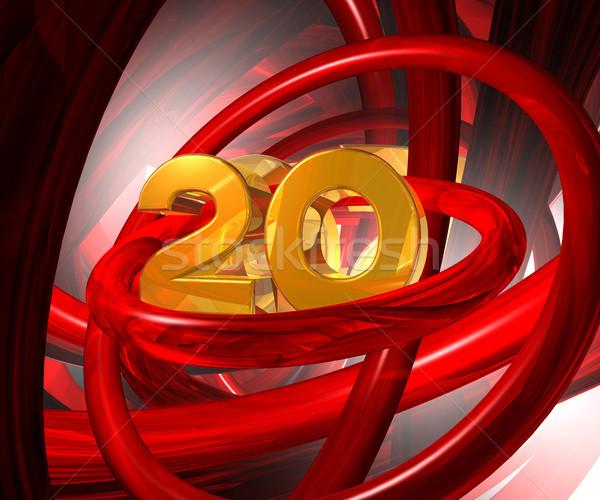 Złoty dwadzieścia numer streszczenie futurystyczny przestrzeni Zdjęcia stock © drizzd