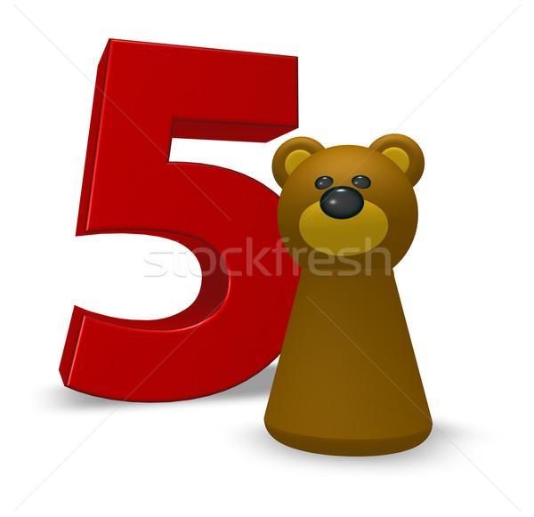 Aantal vijf beer bruine beer 3d illustration verjaardag Stockfoto © drizzd