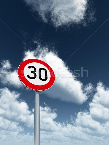 Limite de velocidade trinta nublado blue sky ilustração 3d Foto stock © drizzd