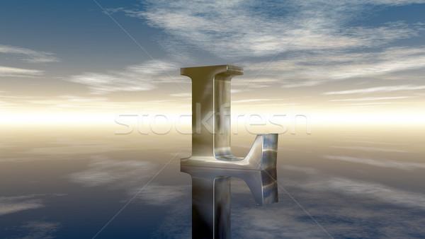 Metaal letter l bewolkt hemel 3D Stockfoto © drizzd